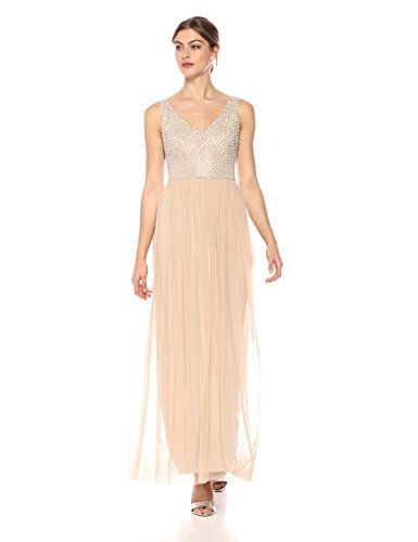 8142a4d8 Adrianna Papell Womens Beaded Long Dress With a Full Tulle Skirt ...