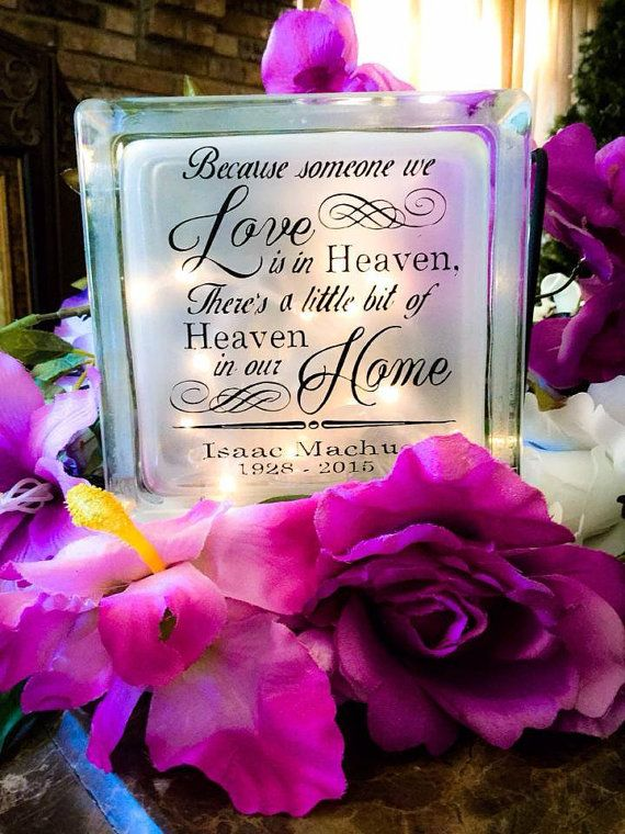 Memorial Glass Block Sympathy Gift Personalized By