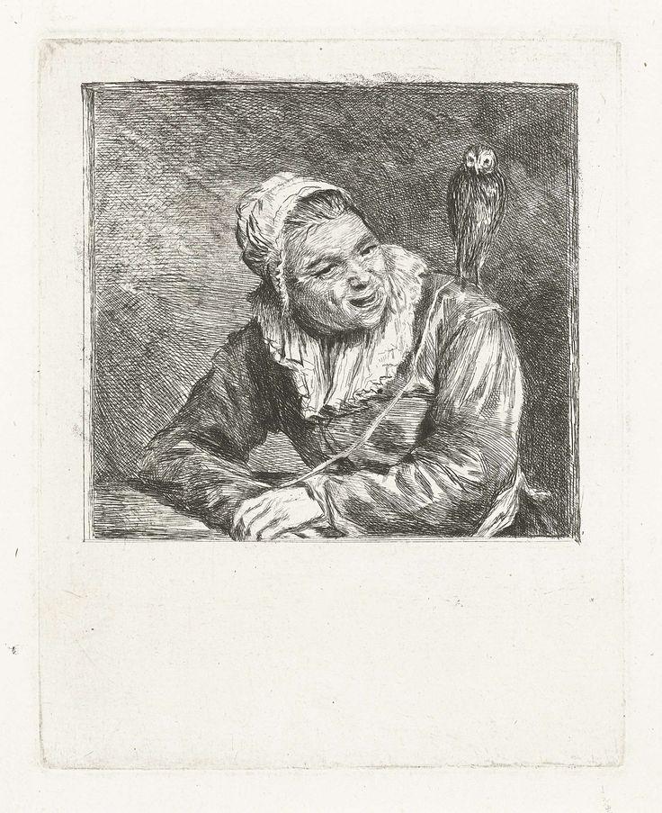 Louis Bernard Coclers   Malle Babbe, Louis Bernard Coclers, Frans Hals, 1756 - 1817   Portretbuste van een lachende oude vrouw met wit kapje en kraag. Op haar schouder zit een uil.