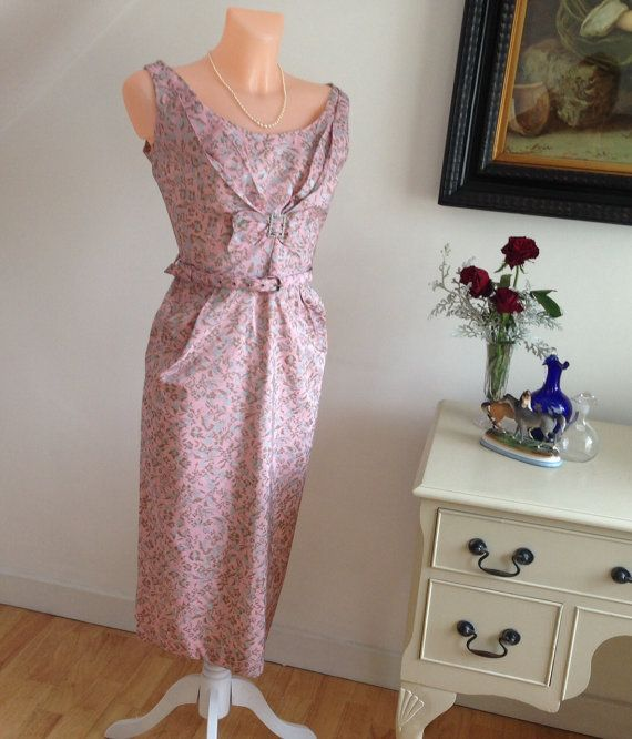 Vintage 1950s Wiggle Dress in Shimmering Silk Brocade in Pink & Azure Stunning Perfect Cocktail Dress For The Races UNWORN