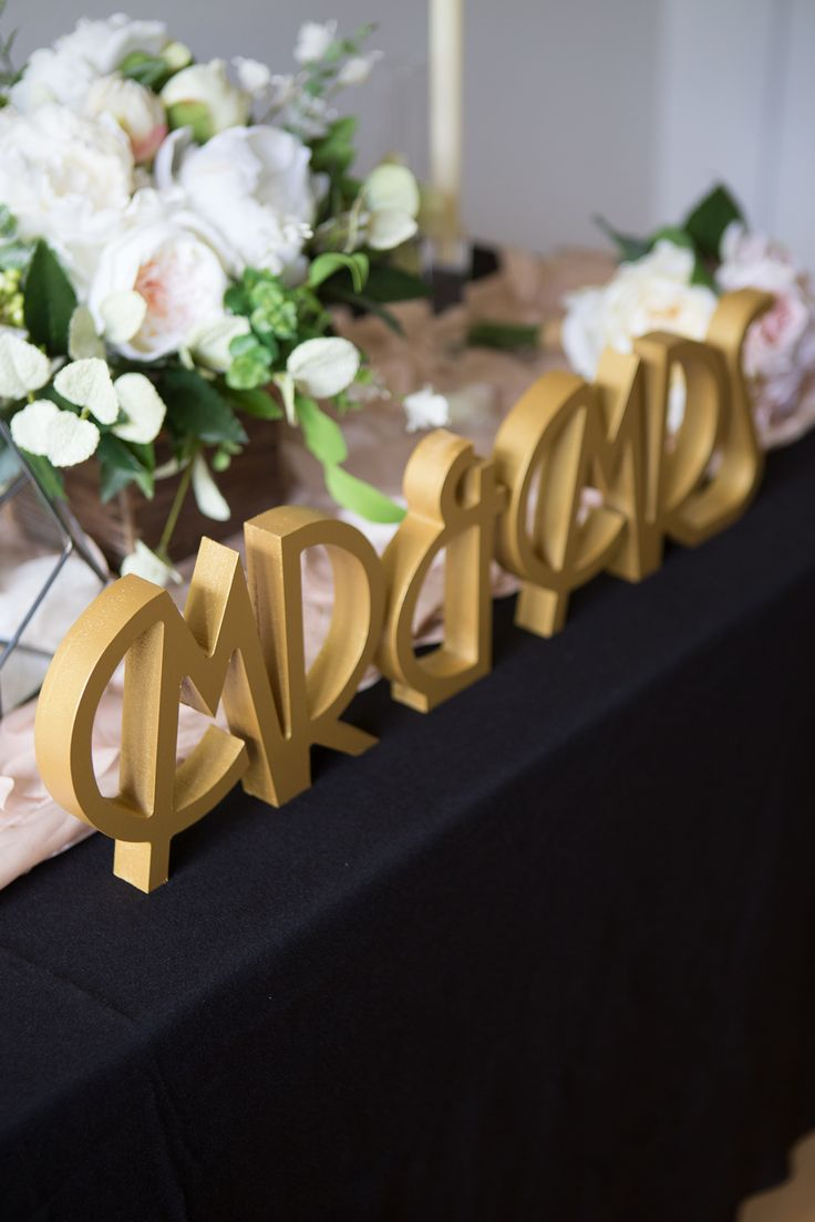 Find Your Wedding Style - Great Gatsby Inspired Wedding Decor for the Perfect Art Deco Theme // Art Deco Mr & Mrs Table Signs by www.ZCreateDesign.com or Shop on Etsy by Clicking Pin