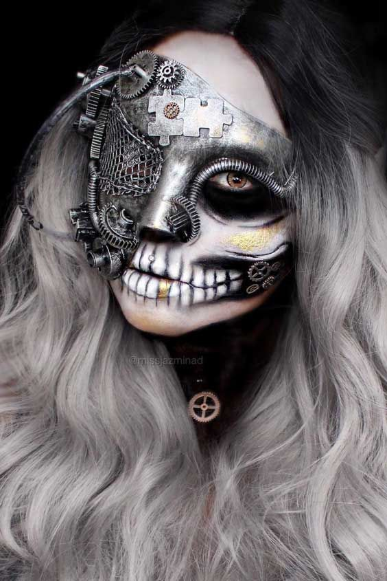 Halloween Face Makeup Ideas for a Big Party ★ See more: https://makeupjournal.com/halloween-face-makeup-party-ideas/ #nails