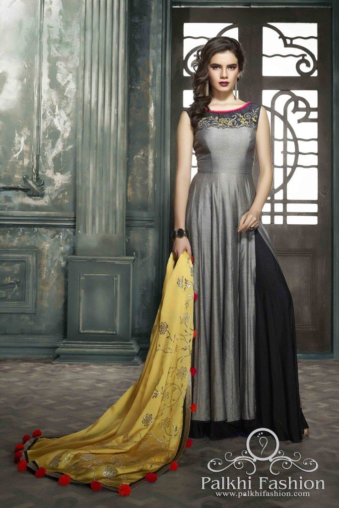 4ec8ee7dc2 PalkhiFashion Exclusive Full Flair Grey Silk Outfit with Black ...