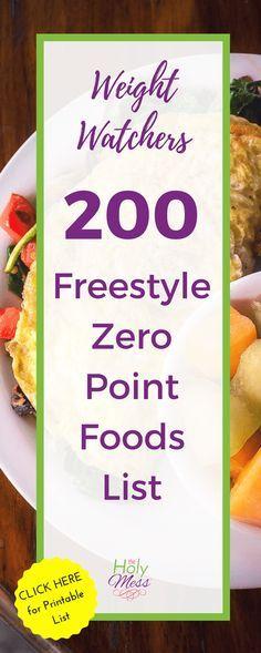 Weight Watchers 200 Freestyle Zero Points Food List