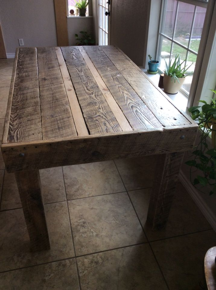 Dining Table Made From Reclaimed Rough Sawn Lumber Rough