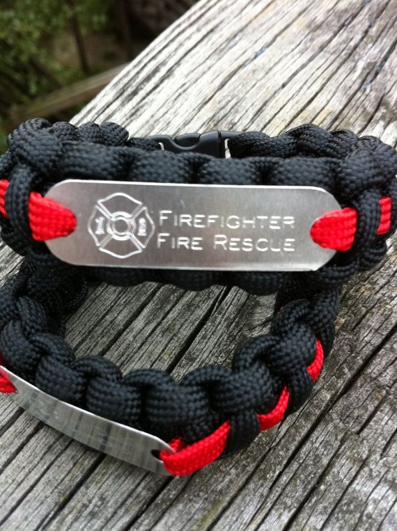 Paracord Thin Red Line Firefighter Fireman Hero Bracelet