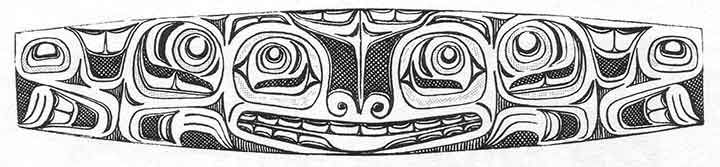 This flattened Haida bracelet, shows the classic formline, ovoids, eyebrows, and U forms.