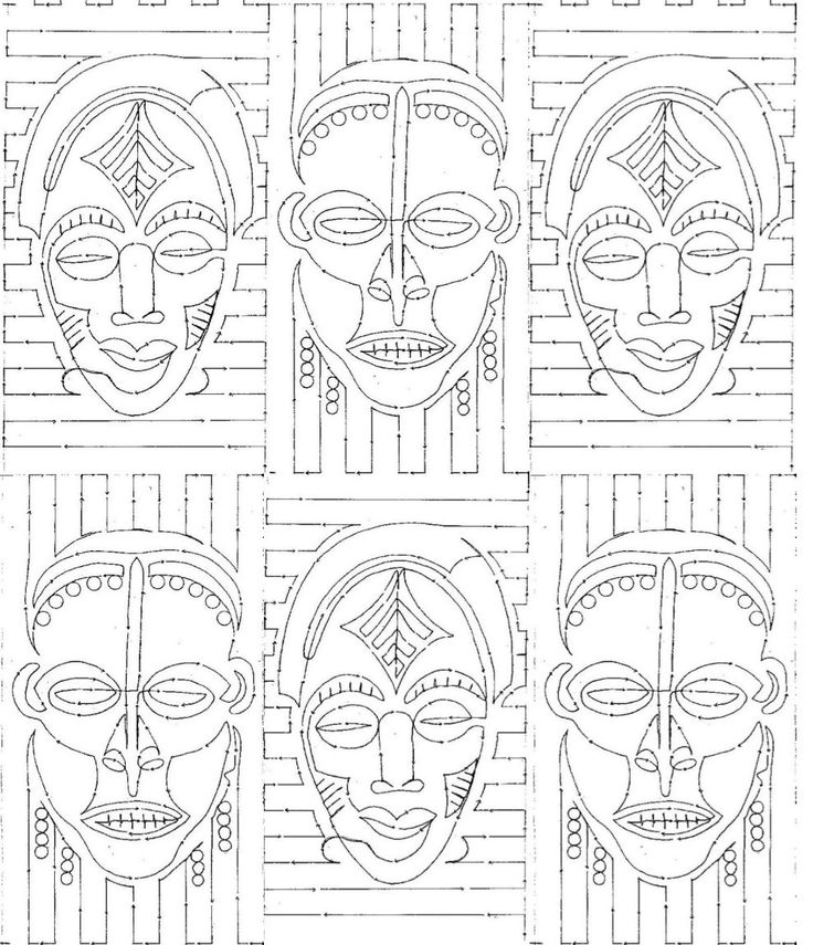african masks drawings for kids - Google Search