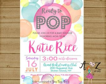 Ready to Pop Baby Shower Invitation Girl Baby Shower por qtpaperie