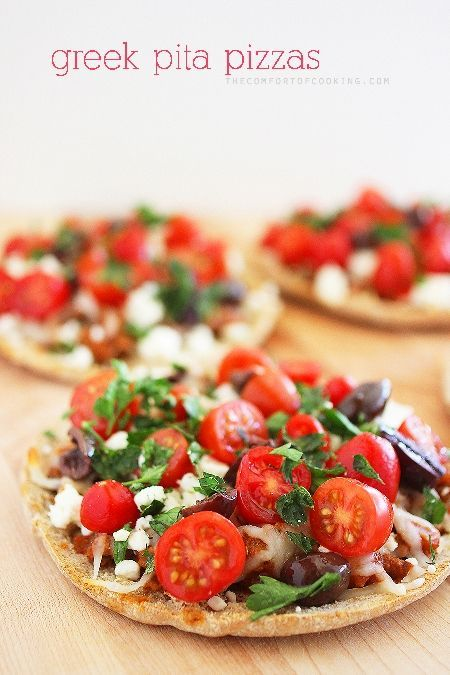 Try these Greek Pita Pizzas from @Georgia Johnson up now on our Delish Dish blog: http://www.bhg.com/blogs/delish-dish/2014/02/27/guest-blogger-the-comfort-of-cooking/