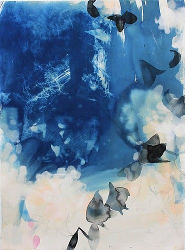 Elise Morris, Light's Fall 2.1 2013, Cyanotype, graphite, and acrylic on paper