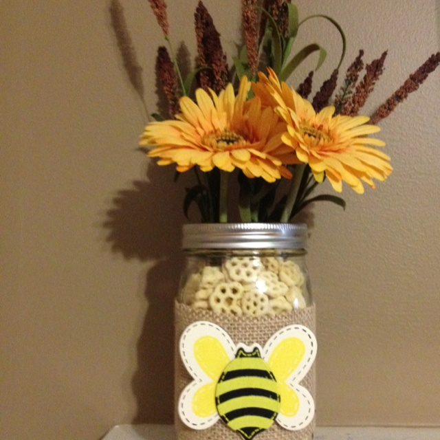 Mason Jar Centerpiece I Made For A Bee Themed Baby Shower