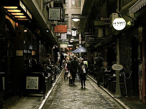 Melbourne, Australia   First stop, City Library to check out some books, then cross Flinders Lane to this laneway to get a flat white (coffee) at one of the little cafe's.