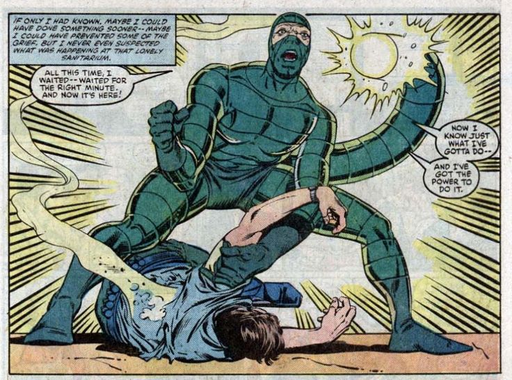 """The Scorpion kills Frank, the Security Guard during his prison escape in The Amazing Spider-Man Annual # 18. """"The Scorpion Takes A Bride (But It's Not What You Think!)"""""""