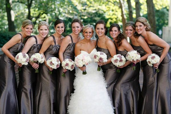 pewter bridesmaid dresses