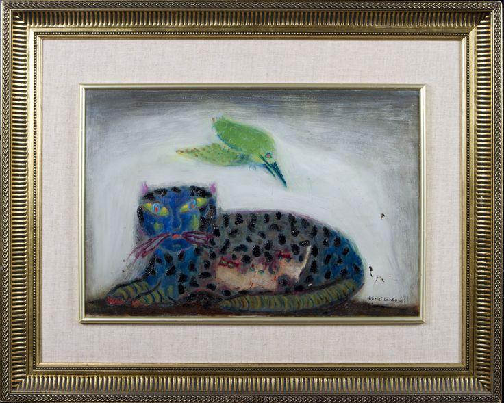 Nikolai Lehto: Päivällislepäävä kissa, 1967, öljy, 33x48 cm - Hagelstam A130