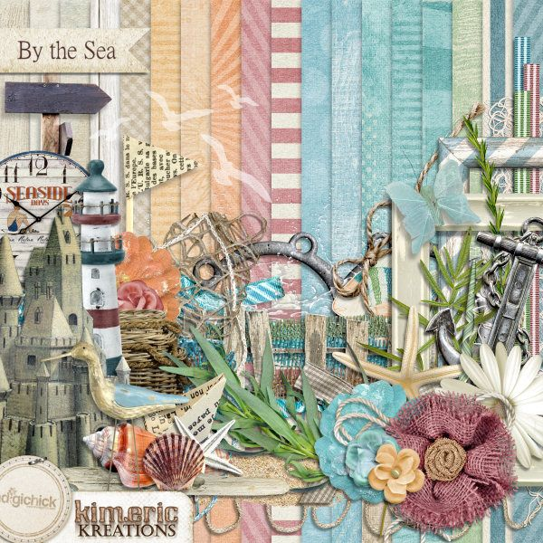 Digital Scrapbook Kit, By the Sea by Kimeric Kreations