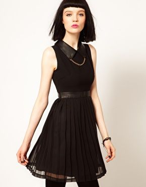 Enlarge Dress with Faux Leather and Stud Collar $126.35 (A dress I would actually consider wearing, love all of the details.)