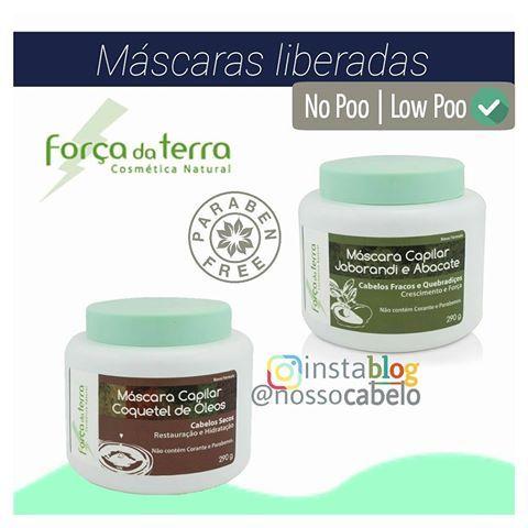 Máscaras da Força da Terra  Liberadas para NO POO e LOW POO✅  Livres de: ▫Petrolatos ▫Silicones ▫Parabenos ▫Corantes  1. Máscara Capilar Coquetel de Óleos Para Cabelos Secos Contém Óleos de Semente de Uva, Copaíba, Amêndoas, Abacate, Andiroba e Manteiga de Karité.  2. Máscara Capilar Jaborandi e Abacate Para Cabelos Fracos e Quebradiços Crescimento e Força  #cabelo #cabelos #hair #nopoo #lowpoo #semshampoo #shampooleve #produtosliberados #forçadaterra #cosméticanatural #parabenos…
