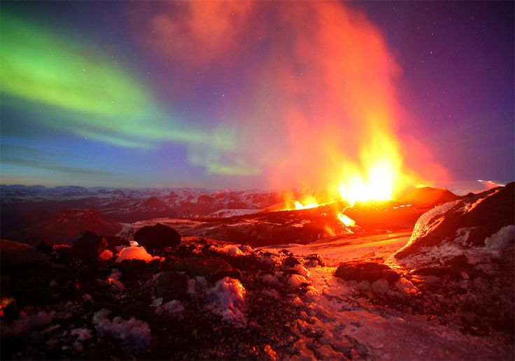 erupting volcano with northern light, iceland: James Appleton, Iceland, Erupting Volcano, Nature, Volcanic Eruption, Northern Lights, Aurora Borealis, Volcanoes, Photo
