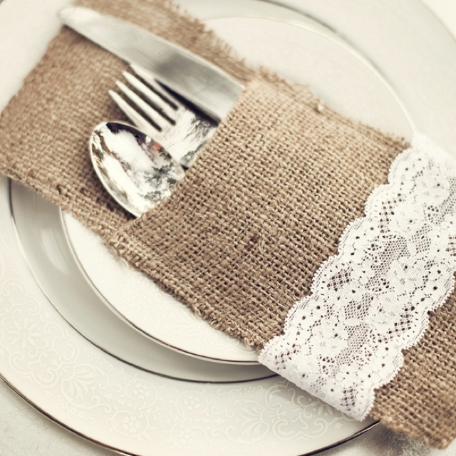This burlap and lace silverware holder would be really cute for an outdoor rustic party.