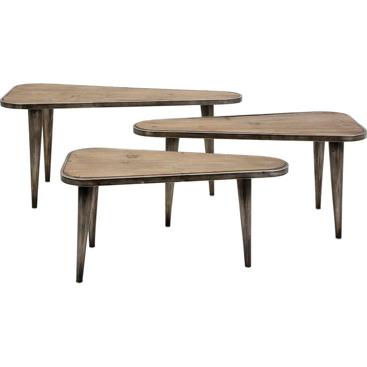 Wood & Distressed Metal Tables (Set of 3) #dynamichome #midcentury #table #side #accent #rustic #farmhouse #wood #metal #livingroom #set #distressed #homedecor #interiors #interiordesign