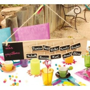Plan de table ardoise rectangle en bois naturel 7 cm x 30 cm avec 10 petites ardoises sur pince, Mariage et Fêtes, wedding pink, party, mariage pink, rose, fuchsia, baby shower, baptême, déco pink