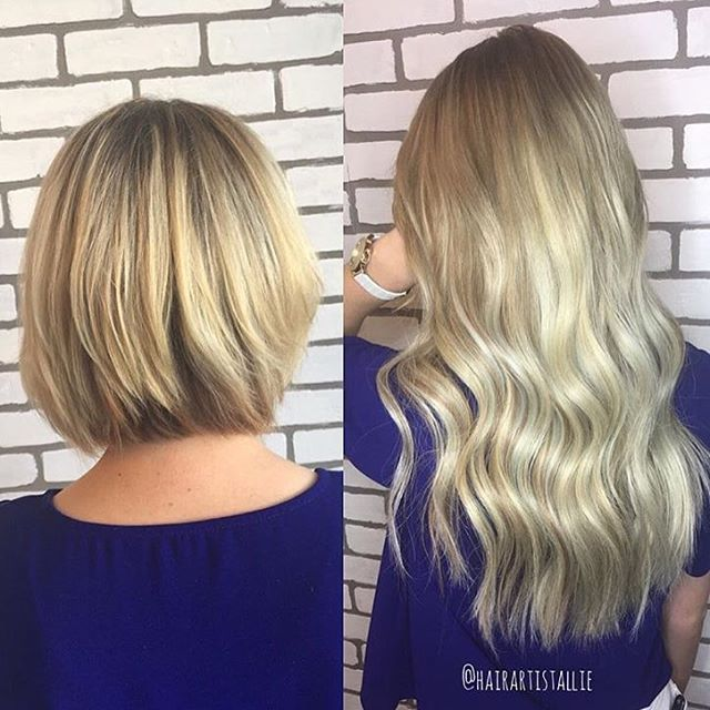 Before & after Bombshell Extensions TAPE-INS! Colors 24, 14/24 & 8/613 ombré.  Extensions by Allie located at Mandie Sue Salon!