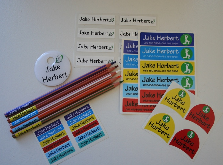 Starter pack of school labels available from online store www.kidslabels.co.za