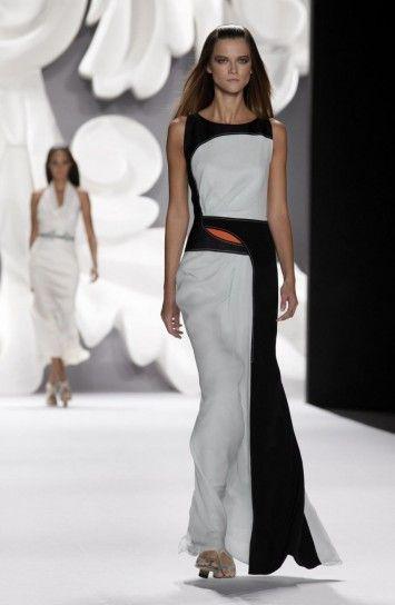 Carolina Herrera vestito lungo bianco nero - Primavera-Estate 2013