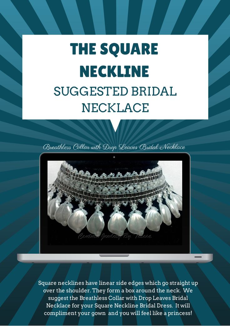 the #square #neckline suggested  #bridal #necklace