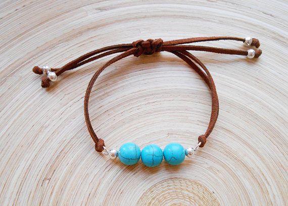 Mia boho gemstone leather adjustable bracelet brown suede turquoise howlite silver gift for her friendship bracelet mermaid beaded wristband