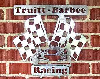 Metal Racing Checkered Flag with Name by TRossCreations on Etsy