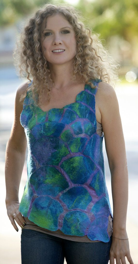 Nuno felted ecofriendly summer sleeveless woman top by GBDesign