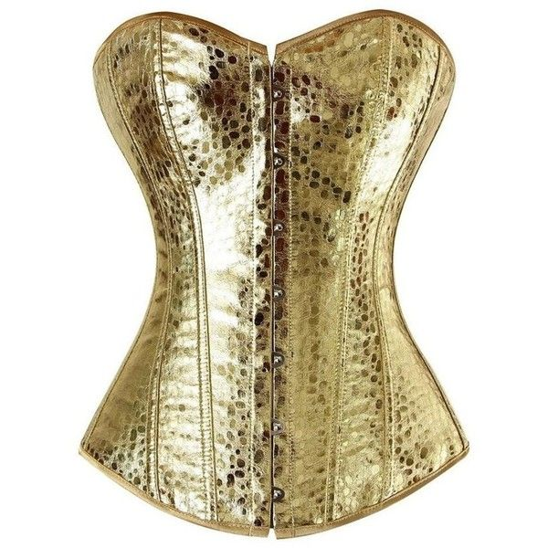 Frawirshau Faux Leater Lace Up Boned Corset Bustier Burlesque Clubwear... ($19) ❤ liked on Polyvore featuring intimates, bone corset, lace up bustier, laced corset, gold bustier and front lace corset
