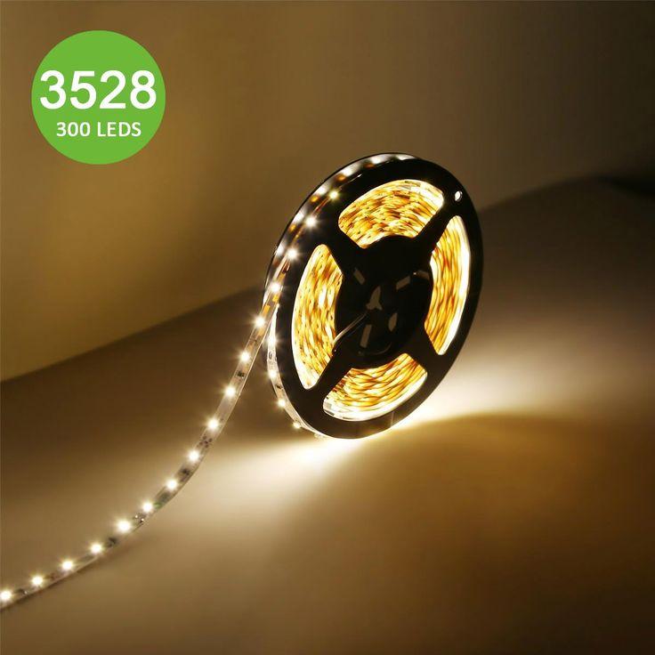 12V Flexible LED Strip Lights, LED Tape, Warm White, 300 Units 3528 LEDs, Non-waterproof, Light Strips, 16.4Ft 5M Spool