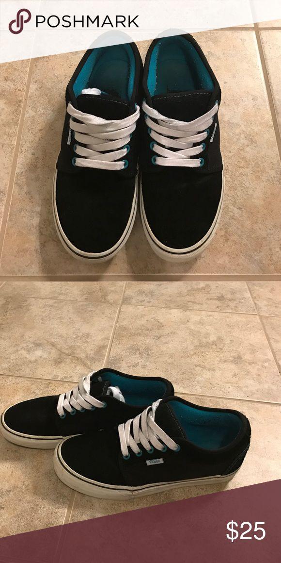 Women's black  and teal vans Like new black and teal vans Vans Shoes Sneakers