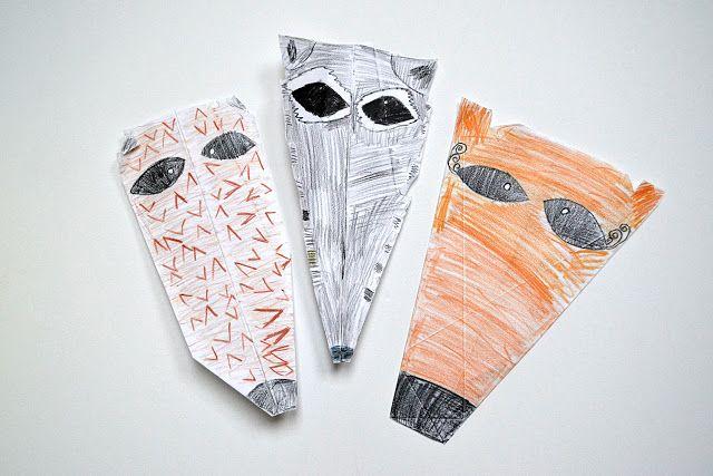 hedhoge, fox and raccoon - kid's art