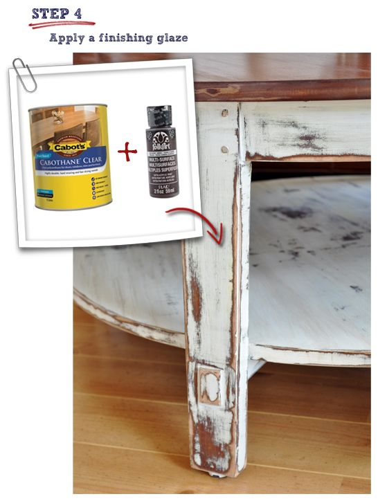 DIY:  How to Paint and Distress a Coffee Table - excellent tutorial shows how this farmhouse table was painted, distressed, glazed and sealed - via The Painted Hive
