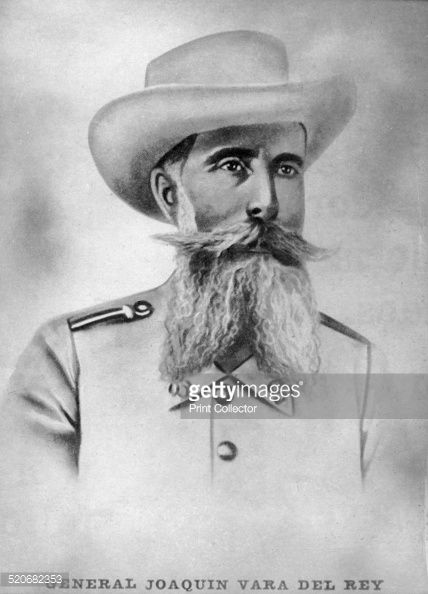 General Joaquin Vara del Roy. Spanish general in charge of Caney village, attacked by the American generals Lawton, Chofee, and Ludlow. An heroic battle lasting 9 hours. He died with 400 of his soldiers. The Americans buried him with military honors. Cigar card from the History of Cuba, Geografico Universal, Propaganda de los Cigarros Susini y La Corona, Tabacalera Cubana.