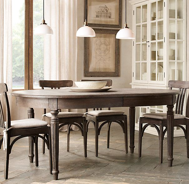 Vintage French Fluted Leg Extension Dining Table White Cushions Curtains To Pull In The Built China Cabinets Room 2018 Pinterest