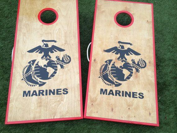 Stained Birch Marine Corps Cornhole Set by WGCornhole on Etsy