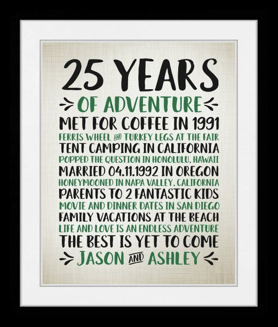 Any Year 25th Wedding Anniversary Years Of Adventure Unique Gift For Husband Wife Anniversary Words 25th Wedding Anniversary Anniversary Gifts For Parents