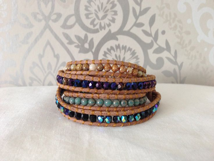 Wrap bracelet 4cm with czech gemstone and beads with leather cord.