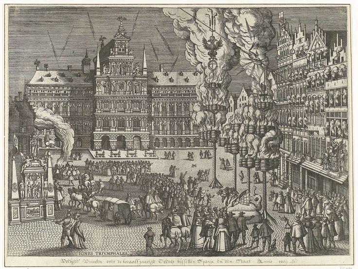 Pieter van der Borcht (I)   Vreugdevuren en vuurwerk op de Grote Markt, 1594, Pieter van der Borcht (I), 1594 - 1595   Aankomst van aartshertog Ernst op de Grote Markt te Antwerpen, onderdeel van de beschrijving van de intocht van aartshertog Ernst te Antwerpen, 18 juli 1594. Deze voorstelling is door Muller eerst geïnterpreteerd als vreugdevuren en vuurwerk op de Grote Markt ter viering van het Twaalfjarig Bestand te Antwerpen, 14 april 1609.