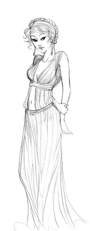Old drawing of Calypso (artist: Arbetta) | Greek goddess ...