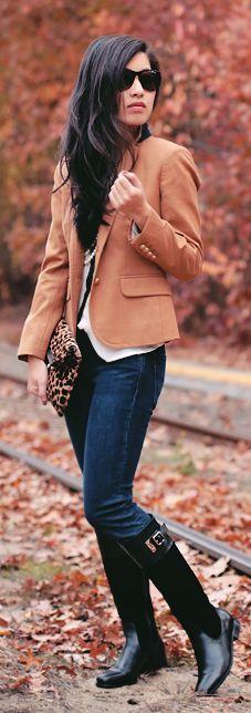 camel blazer + white shirt + jeans + black boots