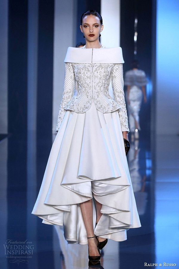 ralph and russo couture fall winter 2014 2015 look 5 white dress sculpted peplum jacket