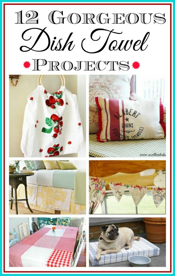 DIY Dish Towel Projects - Do you have some cute tea towels or some dish towels that are  a bit frayed but you don't want to cut them up and use them as rags? Here are some gorgeous home decor projects that can be made by repurposing new or vintage towels!