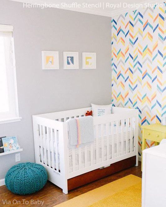 Herringbone Shuffle Stencil Wall Project by My Blessed Life http://myblessedlife.net/2013/07/diy-drop-space.html